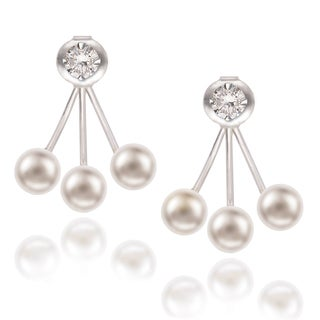La Preciosa Sterling Silver Shell Pearl and Round Cubic Zirconia Stud and Cuff Earrings