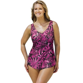 Beach Belle Women's Palm Garden Sarong Front Swimsuit