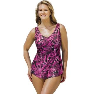 Beach Belle Women's Palm Garden Sarong Front Swimsuit