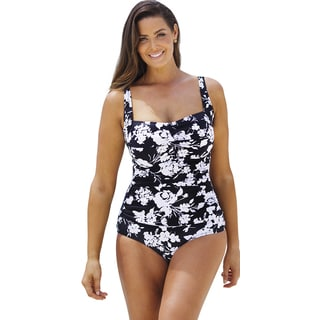 Beach Belle Women's Night Blossom Shirred One Piece Swimsuit