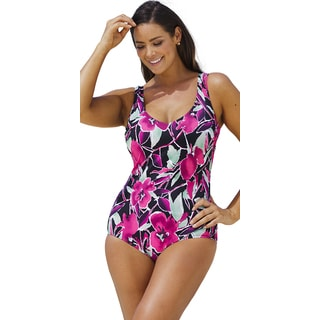 Beach Belle Women's Violet Femme V-Neck One Piece Swimsuit