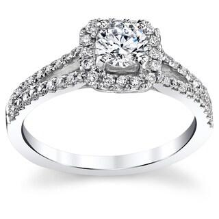 14k White Gold 4/5ct TDW Square Halo Round Diamond Engagement Ring (H-I, I1-I2)