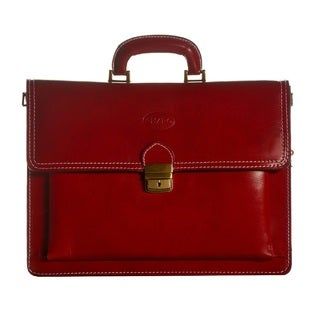 Sharo Apple Red Genuine Italian Leather 15-inch Laptop Briefcase