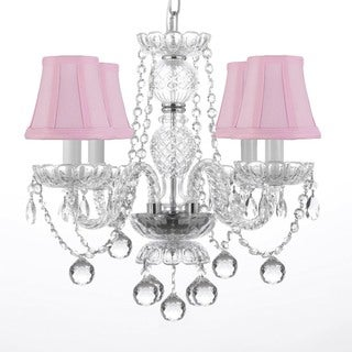 Venetian Style All Crystal Chandelier with 40mm Faceted Crystal Balls and Pink Shades