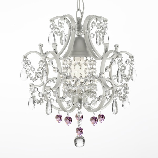 Wrought Iron and Crystal 1 Light White Chandelier Pendant with Pink Crystal Hearts