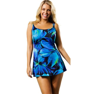 Longitude Women's Blue Darling Princess Seam Swimdress