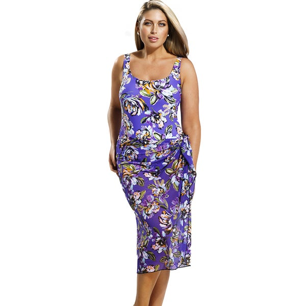 Beach Belle Women's Purple Floral One Piece with Matching Mesh Sarong