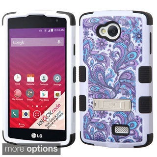 Insten Pattern Design Tuff Hard PC/ Silicone Dual Layer Hybrid Rubberized Matte Phone Case Cover with Stand For LG Optimus F60