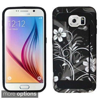 Insten Pattern Design Hard PC/ Silicone Dual Layer Hybrid Rubberized Matte Phone Case Cover with Card Slot For Samsung Galaxy S6