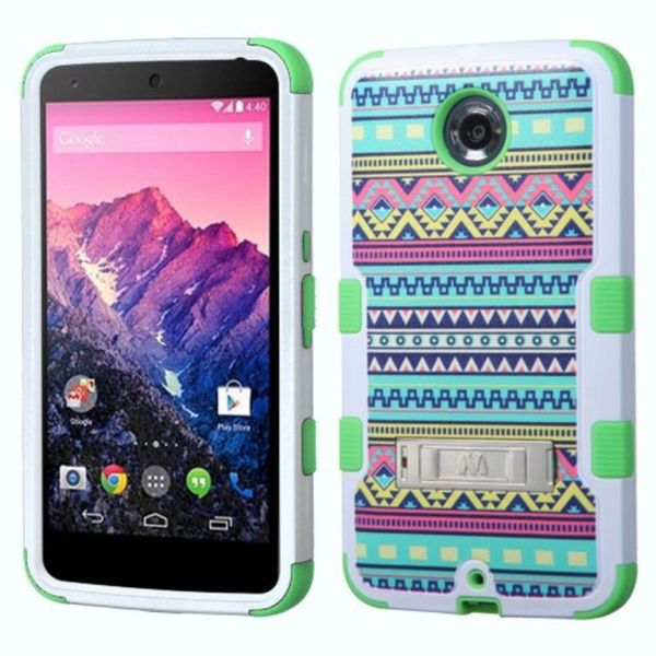 Insten Design Pattern Tuff Hard PC/ Silicone Dual Layer Hybrid Phone Case Cover with Stand For Motorola Google Nexus 6
