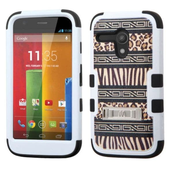 Insten Brown/ Black Zebra Tuff Hard PC/ Silicone Dual Layer Hybrid Phone Case Cover with Stand For Motorola Moto G 1st Gen