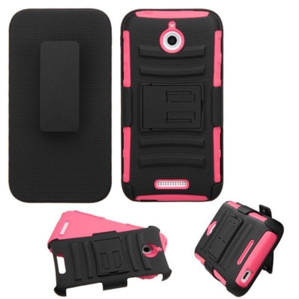 Insten Hard PC/ Silicone Dual Layer Hybrid Phone Case Cover with Holster For HTC Desire 510