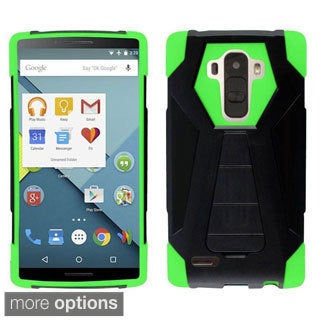 Insten Hard PC/ Silicone Dual Layer Hybrid Rubberized Matte Phone Case Cover with Stand For LG G4