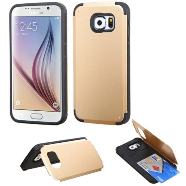 Insten Hard PC/ Silicone Glossy Phone Case Cover with Card Slot For Samsung Galaxy S6