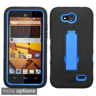 Insten Symbiosis Soft Silicone/ PC Dual Layer Hybrid Rubber Phone Case Cover with Stand For ZTE Speed