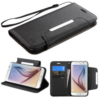 Insten Black Leather Wallet Flap Pouch Phone Case Cover Lanyard with Stand For Samsung Galaxy S6