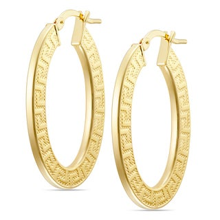 18k Gold Overlay Greek Key Oval Hoop