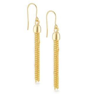 18k Gold Overlay 10-strand Multi Chain Drop Earrings