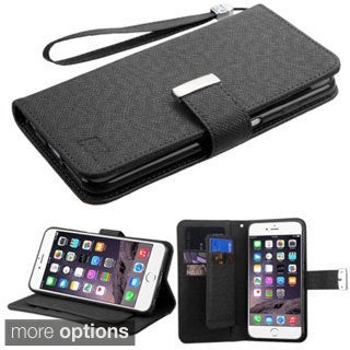 Insten Leather Wallet Flap Pouch Phone Case Cover Lanyard with Stand For Apple iPhone 6 Plus