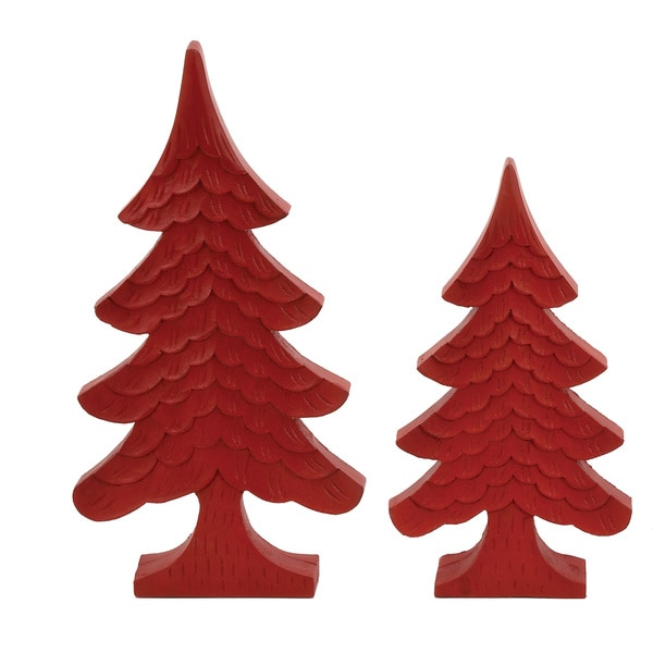 Carved Wooden Hanging Decorative Christmas Tree (Set of 2)