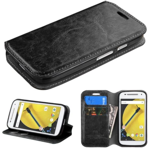Insten Leather Wallet Flap Pouch Phone Case Cover with Stand For Motorola Moto E 2nd Gen