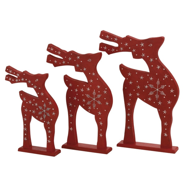 Red Wooden Decorative Reindeer (Set of 3)