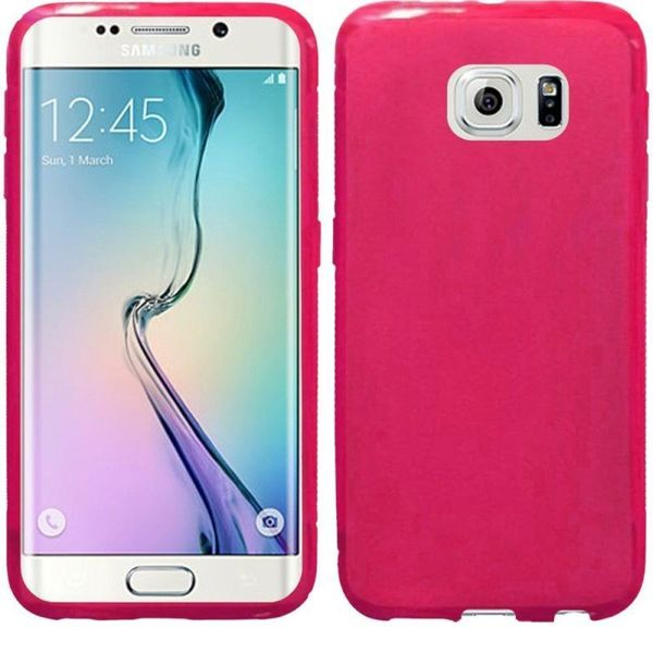 Insten Hot Pink Frosted TPU Rubber Candy Skin Phone Case Cover For Samsung Galaxy S6 Edge