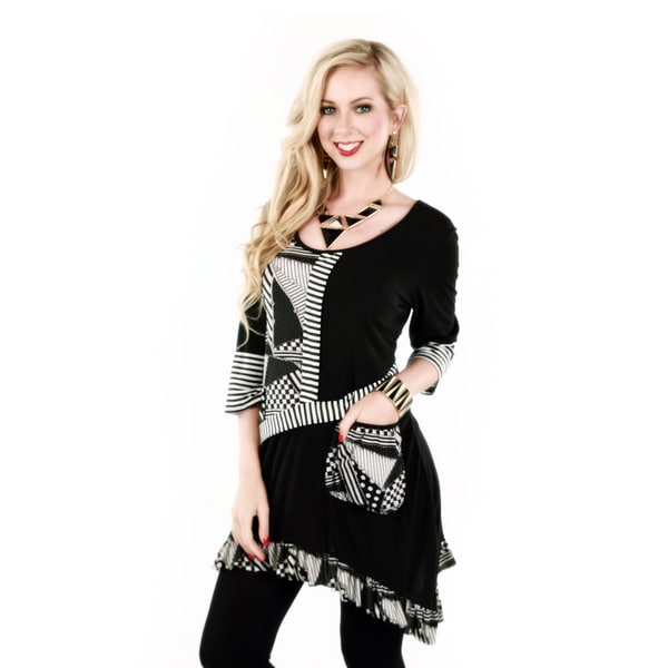 Firmiana Women's Black/ White 3/4 Sleeve Multi Pattern Block Tunic with Sidetail