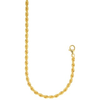 18k Gold Overlay 4mm 20-inch Solid Rope Chain