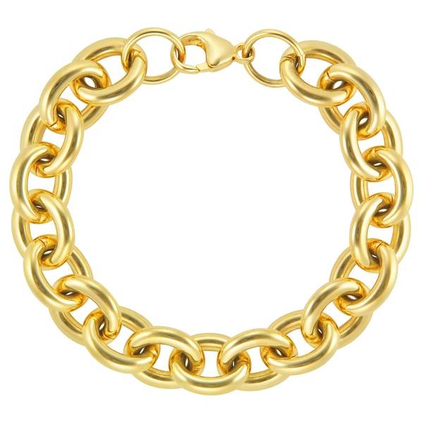 18k Gold Overlay Large Rolo Link 8-inch Bracelet