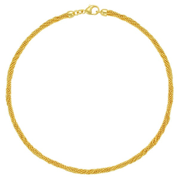 18k Gold Overlay 10-strand Multi Bead Chain 18-inch Necklace
