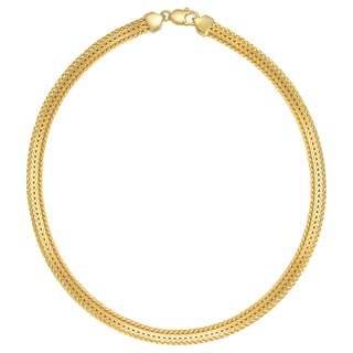 18k Gold Overlay Wide Byzantine 17.5-inch Necklace