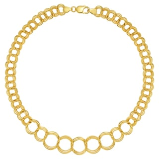 18k Gold Overlay 18-inch Graduated Open Link Necklace
