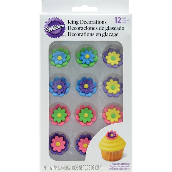 Royal Icing Decorations 1in 12/PkgMulticolor Flowers