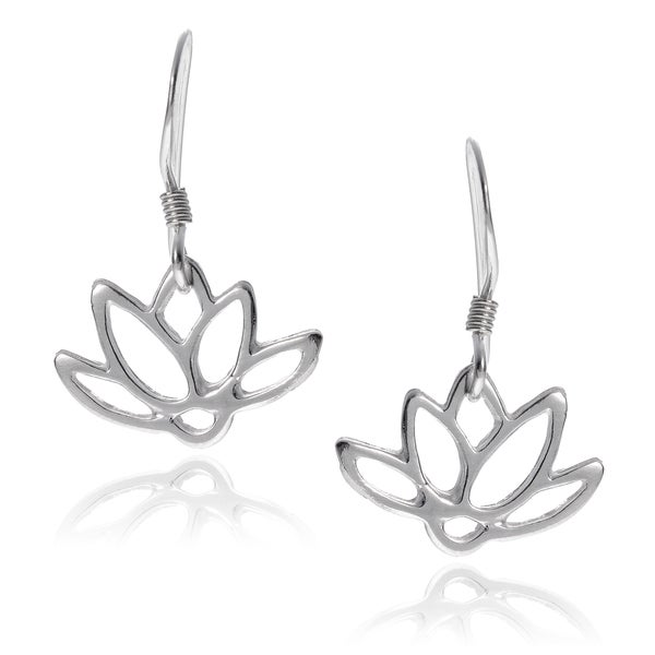 Journee Collection Sterling Silver Lotus Flower Earrings