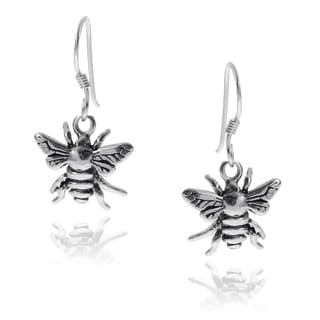 Journee Collection Sterling Silver Bee Emblem Earrings