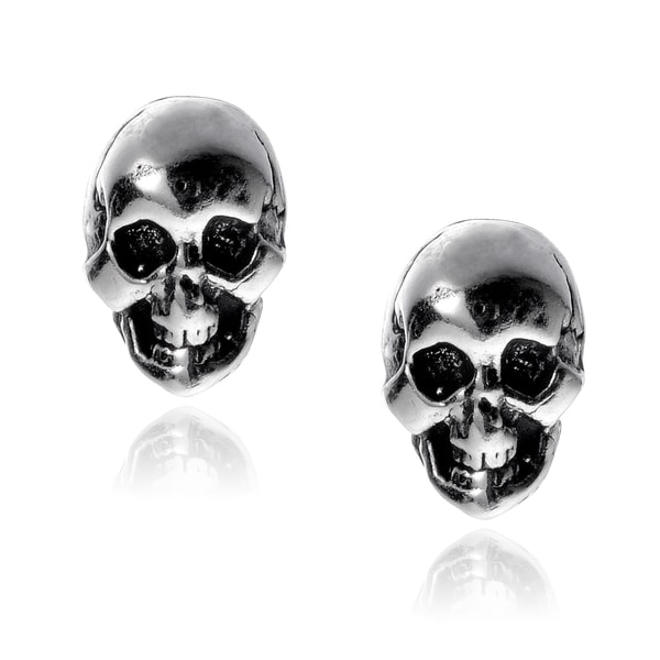 Journee Collection Sterling Silver Skull Stud Earrings