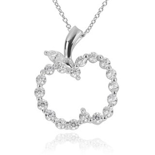Journee Collection Sterling Silver Cubic Zirconia Apple Pendant