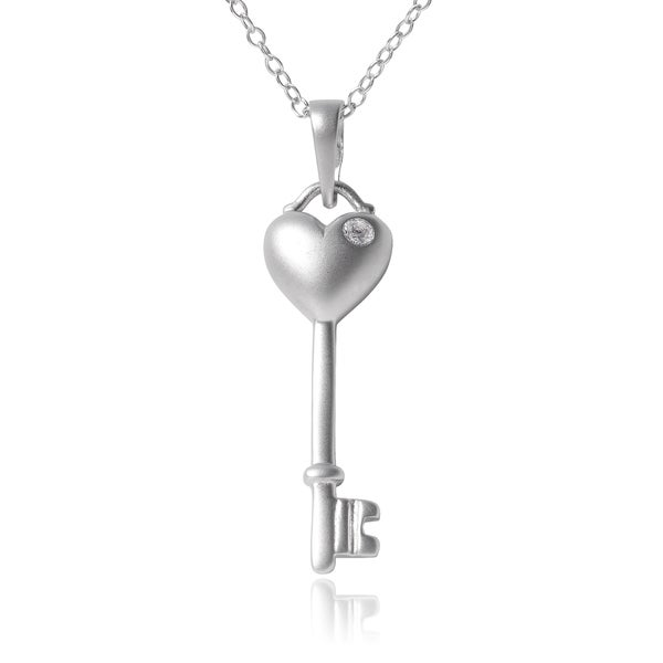 Journee Collection Sterling Silver Cubic Zirconia Accent Heart Key Pendant