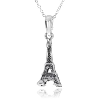 Journee Collection Sterling Silver Eiffel Tower Pendant