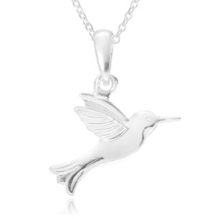 Journee Collection Sterling Silver Hummingbird Pendant