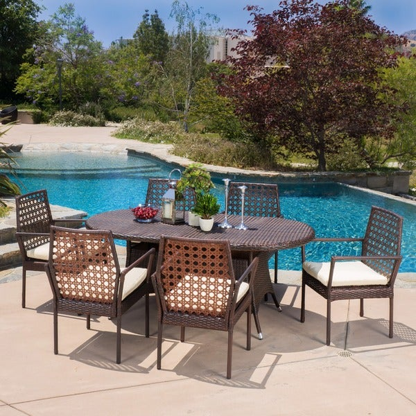 Franklyn Outdoor 7-piece Wicker Dining Set with Cushions by Christopher Knight Home -  295829