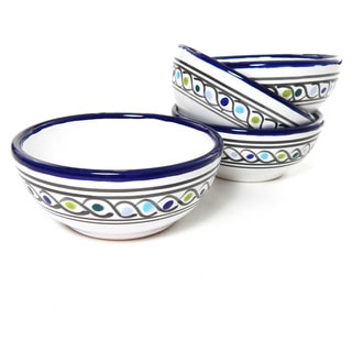 Le Souk Ceramique Aqua Fish Design Deep Sauce/ Ice Cream Bowls (Set of 4)