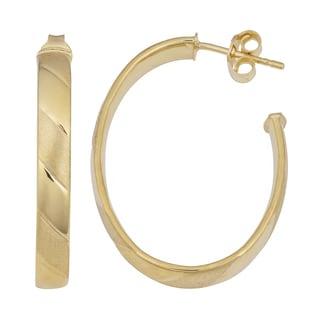 Fremada 14k Yellow Gold High Polish and Satin Candy Stripe Open Hoop Earrings