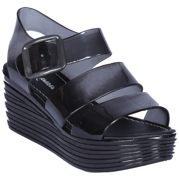 Coshare Women's Fashion Skimm-36 Jelly Strappy Upper Ankle High Flatform Sandals