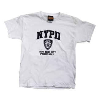 NYPD Kids Navy Print White Tee