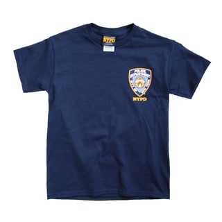 NYPD Kids Unisex Yellow Back Print And Emblem Patch Navy Tee