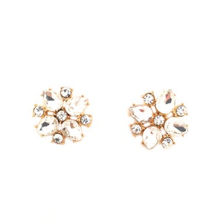 Clear Rhinestone And Acrylic Statement Flower Stud Earrings