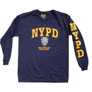 NYPD Kids Unisex Navy/ Yellow Chest And Sleeve Print Long Sleeve Tee