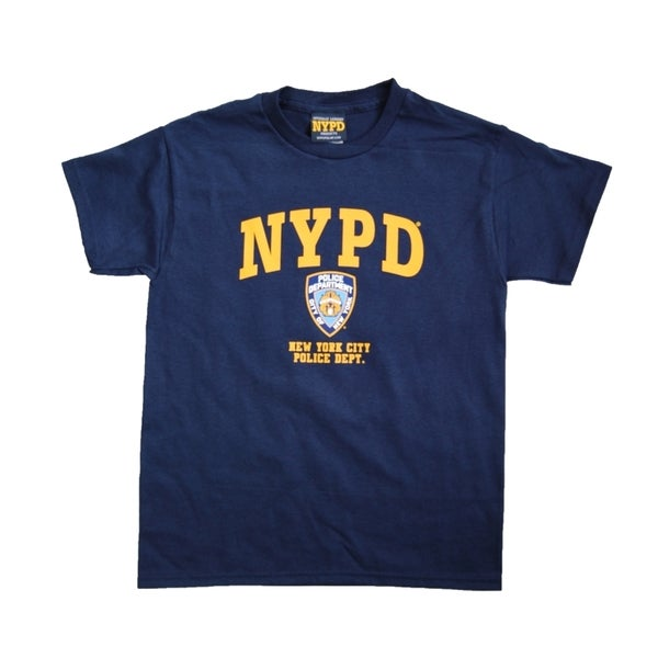 NYPD Kids Yellow Chest Print Navy Unisex Tee